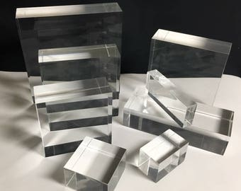 """Clear Lucite/acrylic Solid Block 2"""" W"""" x 2"""" L x 2"""" T - Qty 5"""