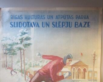 "Original Soviet Russia - Latvia Poster ""  Skating Rink and Ski Base "" y1952"