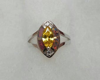 0.75 carats created yellow sapphire & 1 carat created opal ring size 7