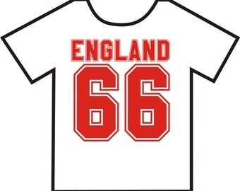 England 66, T-shirt. Available in colour white in sizes Small, Medium, Large and Extra Large
