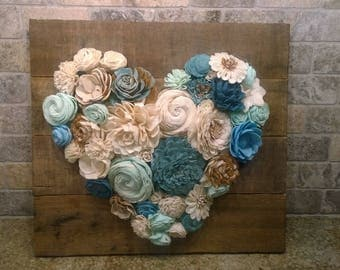 Wooden Heart with wooden flowers