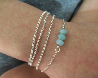 Silver bracelet with aquamarin