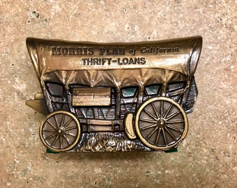 1917 Vintage Cast Iron coin bank > Covered Wagon >