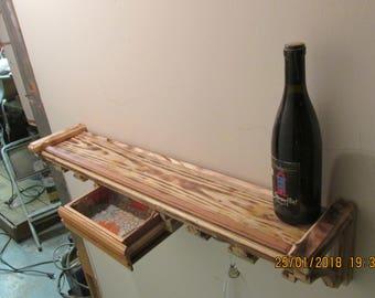 """34""""shelf with wine glass rack and draw"""