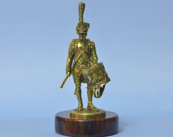 Napoleon Old Guard Drummer Soldier Art Deco Bronze Statuette Sculpture Figurine