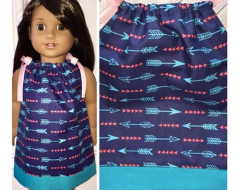 "18"" Doll Clothes/Doll Pillowcase Dress/American Girl Dress/Dreamcatcher Arrows"