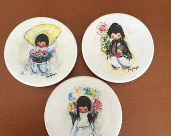DeGrazia drink tea coasters CHILDREN of THE SOUTHWEST Vintage