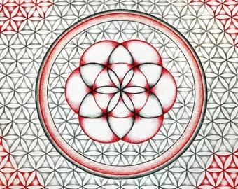 Handmade Flower of Life mandala