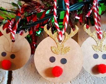 Christmas Favor Tags, Reindeer favor tags