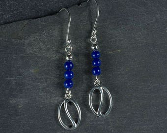 Lapiz Lazuli and 925 Silver Coffee Bean Drop Earrings.