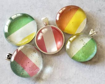 Multicolor Large Striped Decorated, Magnets, Necklace Pendant, Cabochon