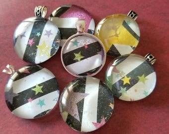Black and White Striped Multicolor Stars Decorated, Magnet, Pendant, Cabochon