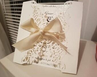 Wedding invitation - vintage inspired, die-cut cream invitation