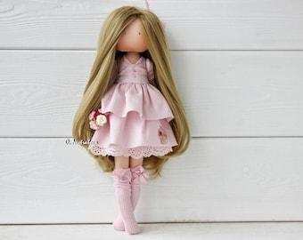 Textile doll. Doll. Tilda. Tilda doll. Interior doll. Decor doll. Pink. Handmade doll. Art doll by Olesya Nestratova