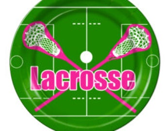 "9"" 18 ct Lacrosse Paper Plates pink"