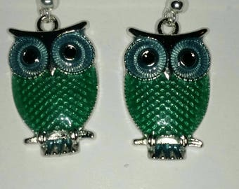 Owl earrings (teal)