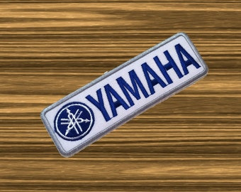 YAMAHA White Sport Racing Biker Embroidered Iron On Patch