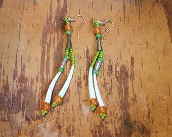Two Shell Dentalium Earrings