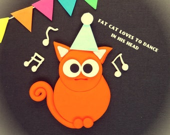 funny card | fat cat card | funny birthday card | fat red cat | fat cat | fat cat birthday card | retro style card
