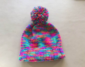 Hand knitted Bobble Hat .
