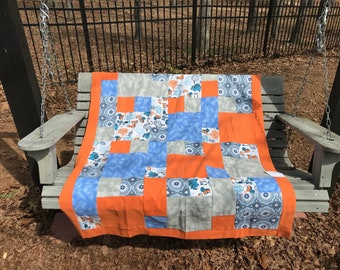 Orange, Blue, and Grey Handmade Baby Blanket