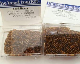 Tw/o Hanks Tortoise Shell Brown Transparent  Czech Seed Beads Size 11/0