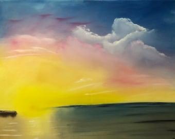 Ocean sunset on canvas