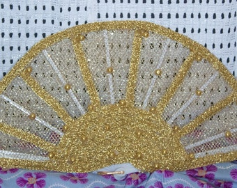 Custom Gold Beaded Traditional Wedding Fan/Igbo/Yoruba/Edo/Benin Wedding