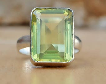Lemon Topaz Ring, Cushion Cut Lemon Toaz sterling silver ring, Topaz Solid silver ring Jewelry