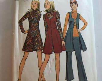 Vintage 1972 Simplicity 5186 Misses Mini Dress Shirt and Pants Size 12