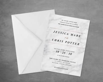 Wedding Invitation   Printable    Invitation Suite   Modern Wedding   Marble Wedding Invitations   Rose Gold Wedding Invitation