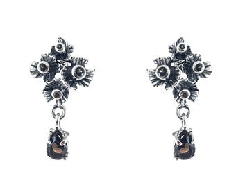 Handmade Silver Earrings with Smoky Quartz