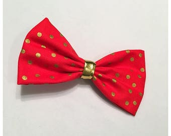 Metallic Gold Polka Dot Hairbow, Hairbow, Red and Gold Hairbow, Red Hairbow, Metallic Gold Hairbow, Bows, Bowtie, SozBows