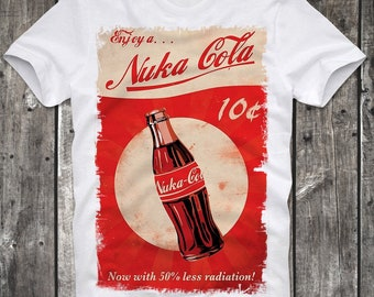 T-Shirt Nuka Cola Fallout Gamer Gaming Game Poster Distressed White Retro Vintage