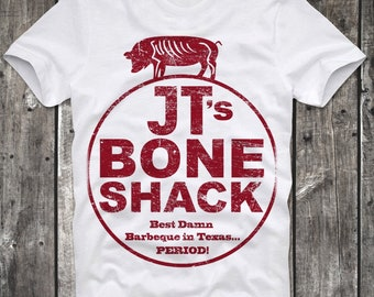 T-Shirt JT's Bone Shack Planet Terror Tarantino BBQ Cult Movie Death Proof White Distressed Retro Vintage 80s cult
