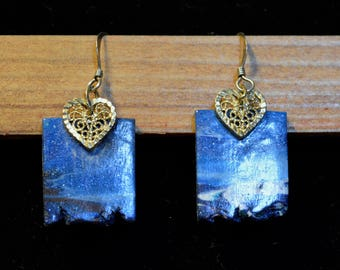 Blue Clay and Gold Heart Earrings