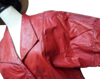 Fiber Street VINTAGE! rare classic 80s beautiful red color and details vintage leather jacket
