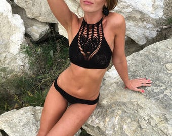 Crochet Top Swimsuit  Boho Bikini Swimwear Croptop black Woman