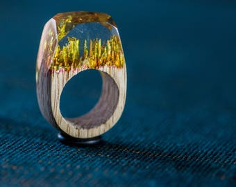 Gold wood and resin ring