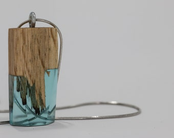 PatternedBlue wood and resin pendant