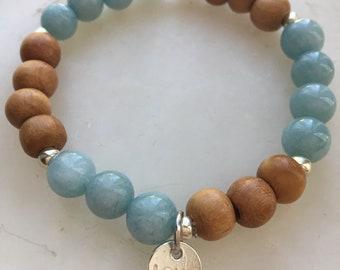 Natural Aquamarine Gemstone Charm Bracelet With Indonesian Wood.