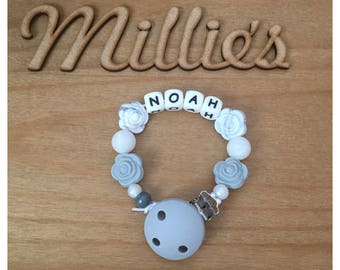 Boys Personalised Silicone Dummy Clip