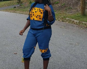 Ankara denim sweat pants and shirt combination