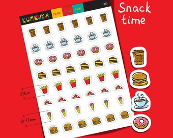 Snack Icon Functional Planner Sticker Fast Food Sticker Lunch Food Sticker Street Food Junk Food Daily Reminder Sticker Life Planner   L032