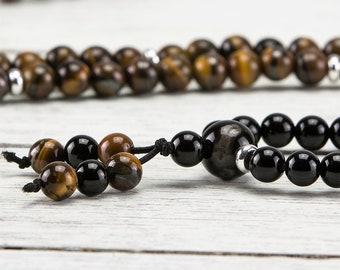 Tiger's Eye Black Onyx 6mm Gemstone Silver Meditation Mala Bracelet Necklace