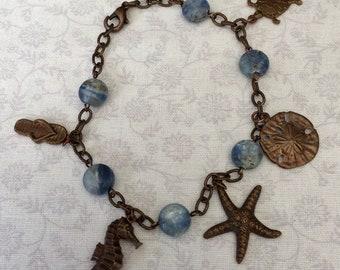 Vintage look Brass Bracelet with Ocean Charms