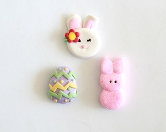 Easter Bow Centers - Polymer Clay Easter Egg - Easter Embellishments - Easter Bunny Bow Center