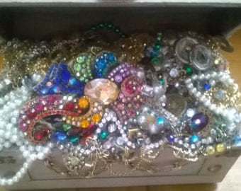 Vintage Jewelry Embellished Treasure Chest
