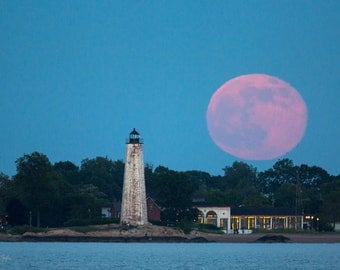 Strawberry Moon Over Lighthouse Point