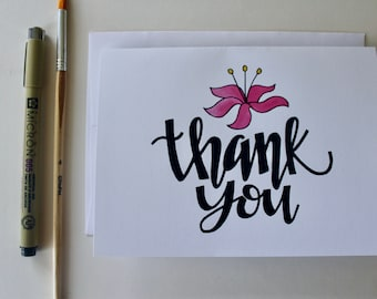 Thank You Lily - Handmade Greeting Card - Set of 8 - Appreciation, Flower